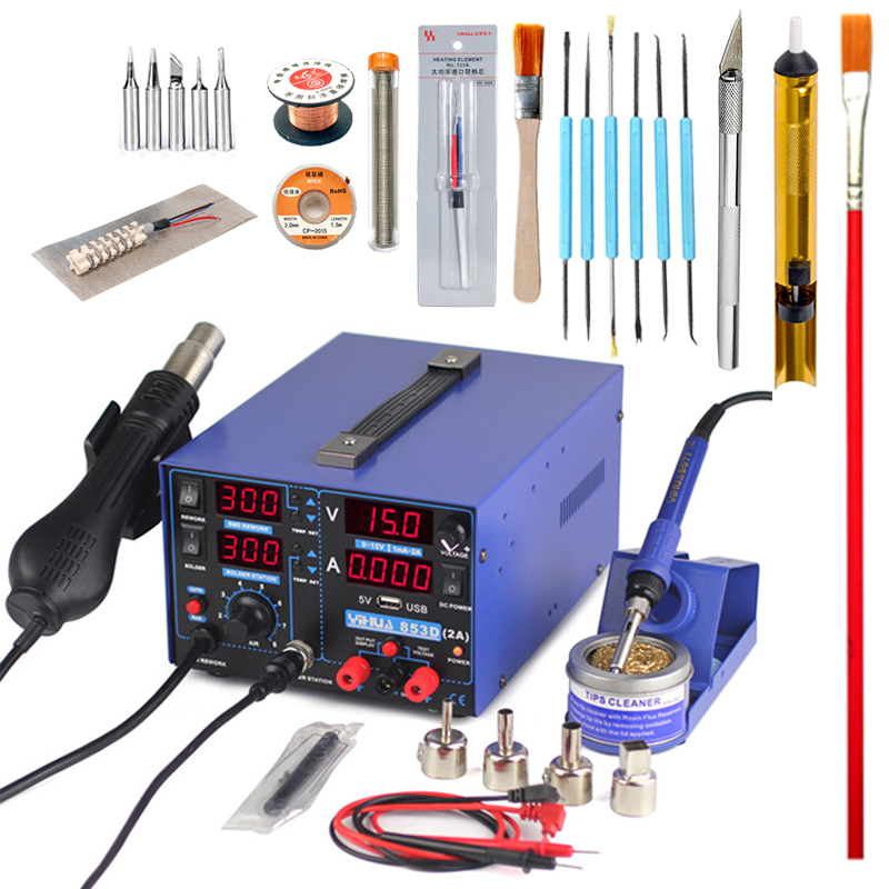 YIHUA 853D soldering station 2A 15V USB power supply 3In1 hot air gun solder iron repair soldering station BGA rework station 853d 110v 220v usb hot air gun rework station soldering iron heat gun power supply welding repair solder station led light