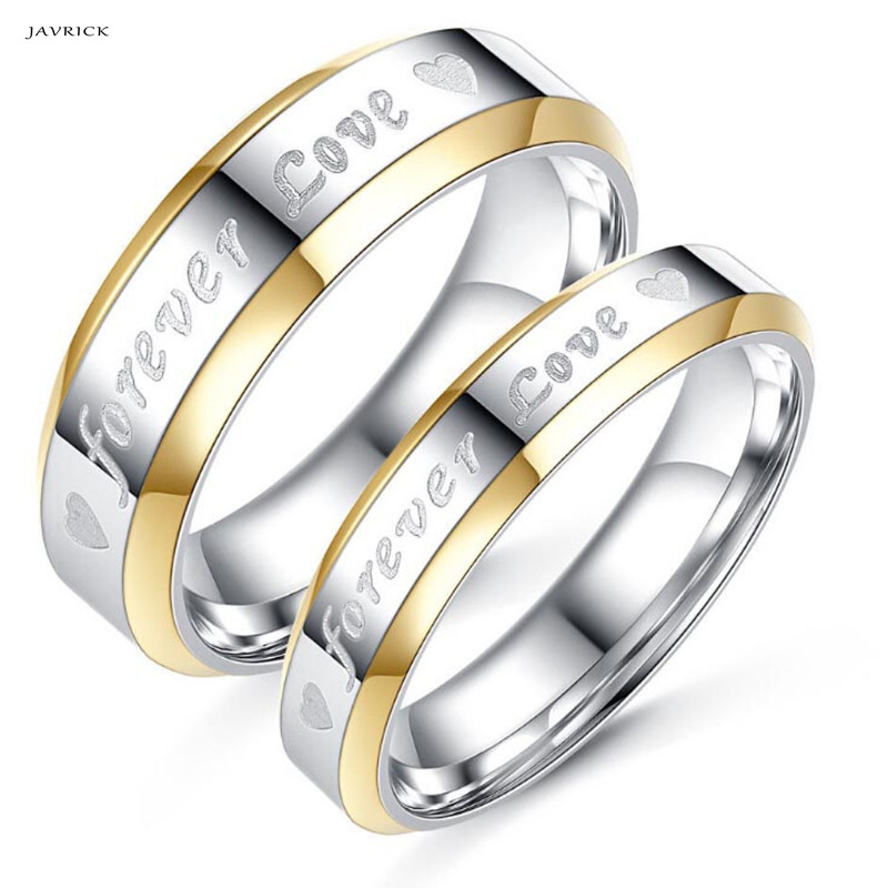 JAVRICK Couple Ring Men Women Forever Love Silver Steel Wedding Engagement Band