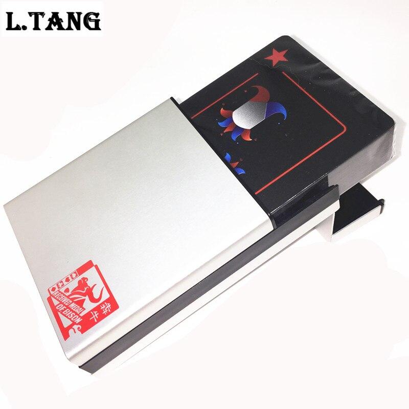 Wasserdicht PVC Poker Mit Aluminium Box Hohe Qualität Schwarz Kunststoff Spielkarten Neuheit Sammlung Board Spiel Geschenk L388