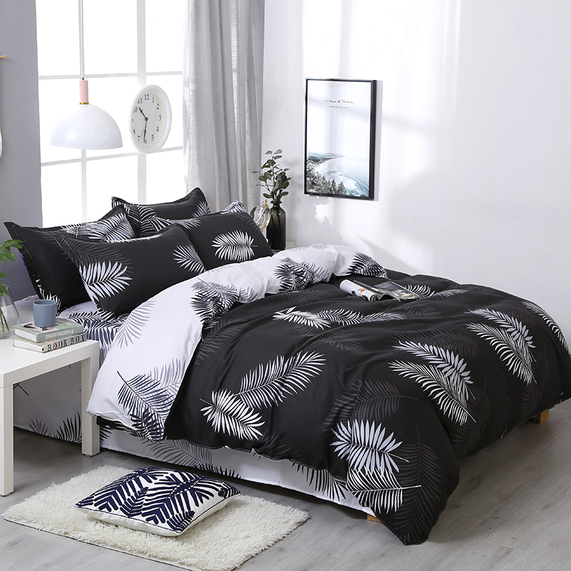 Black Leaves Bedding Set 3/4pcs High Quality Duvet Cover White Flat Sheet Bed Linings With Pillowcase Home TextileBlack Leaves Bedding Set 3/4pcs High Quality Duvet Cover White Flat Sheet Bed Linings With Pillowcase Home Textile