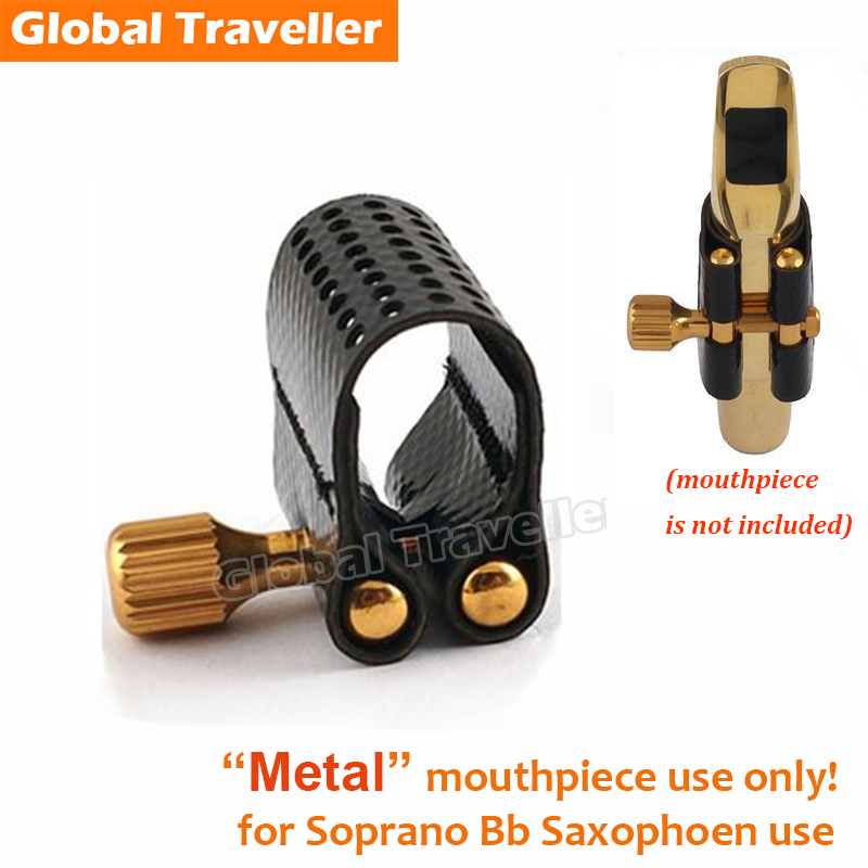 Sax Ligature Soprano Metal Sax Mouthpiece Ligature Clip Metal for Dukoff 1md model for Bb Soprano Saxophone Sax Ligature mouthpiece for soprano saxophone sax gold plated size 7