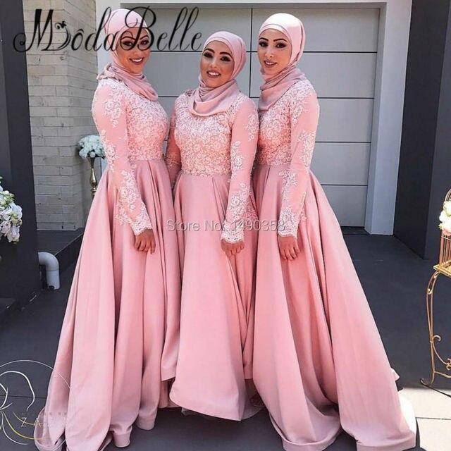2017 Plus Size Satin Lace Pink Bridesmaid Dress Long Sleeves A Line Arabic Wedding Party Dress High Low Nigerian Brautjungfernkl