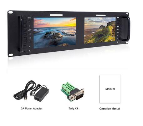 Feelworld D71 Dual 7 Inch 3RU IPS 1280 x 800 3G-SDI HDMI LCD Rack Mount Monitor Portable 2 Screens Broadcast Monitor