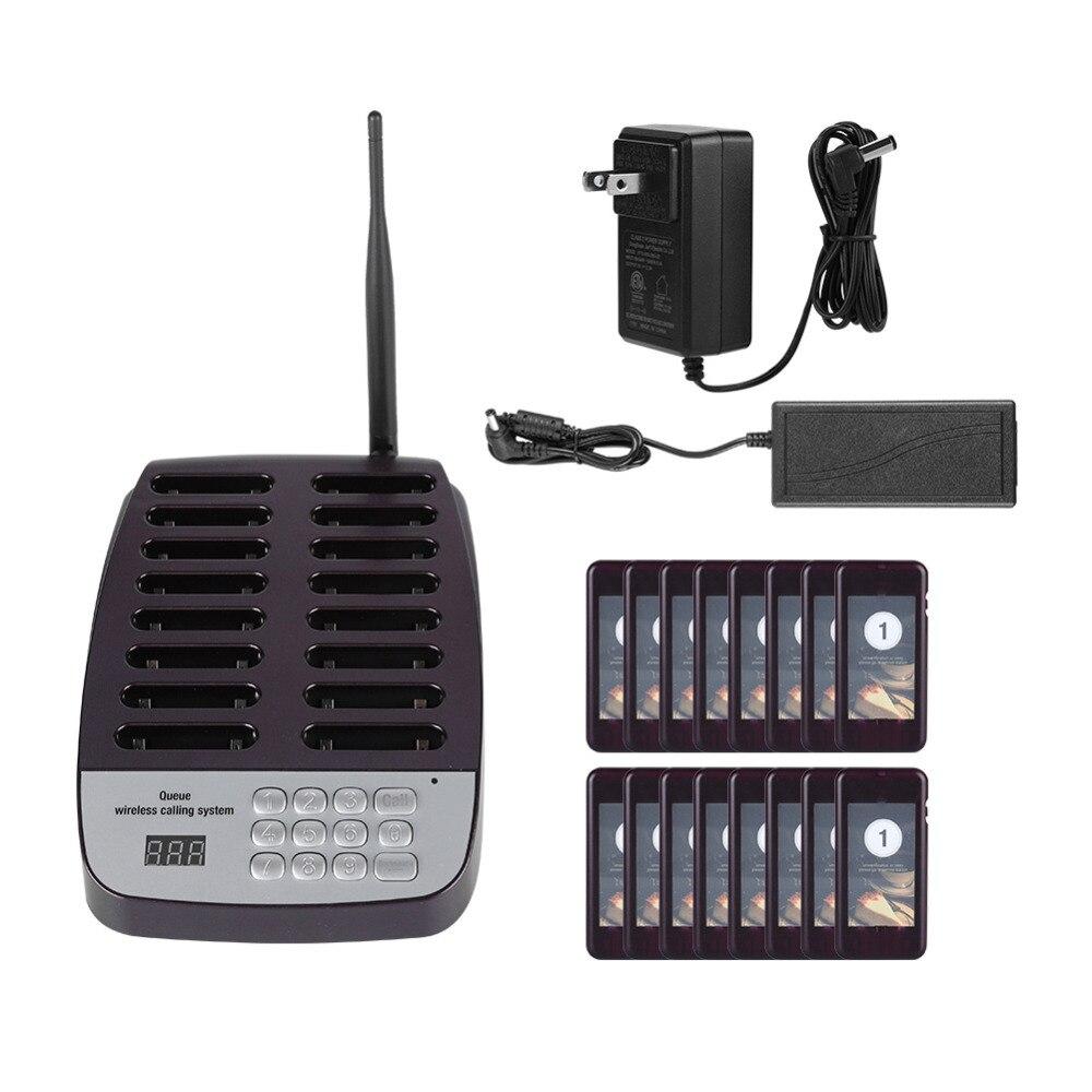 SU 66 1 トランスミッタ + 16 ポケベル無線ポケットベルシステムレストランキューイング通話システムトランスミッタ 100 240 のためのレストラン  グループ上の パソコン & オフィス からの ポケベル の中 1