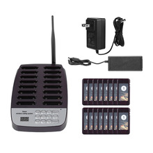 SU 66 1 Transmitter + 16 Pagers Wireless Pager System Restaurant Queuing Calling System Transmitter 100 240V For Restaurant