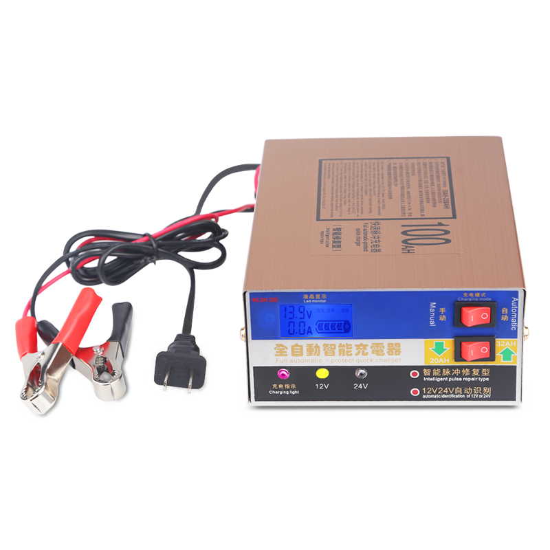 Full Automatic 12V/24V 100AH Electric Car Dry&wet Battery Charger Intelligent Pulse Repair Type Battery Charger With Package ihens5 full automatic smart fast car motorcycle battery charger 110v 220v to 12v 24v output intelligent pulse repair type 100ah