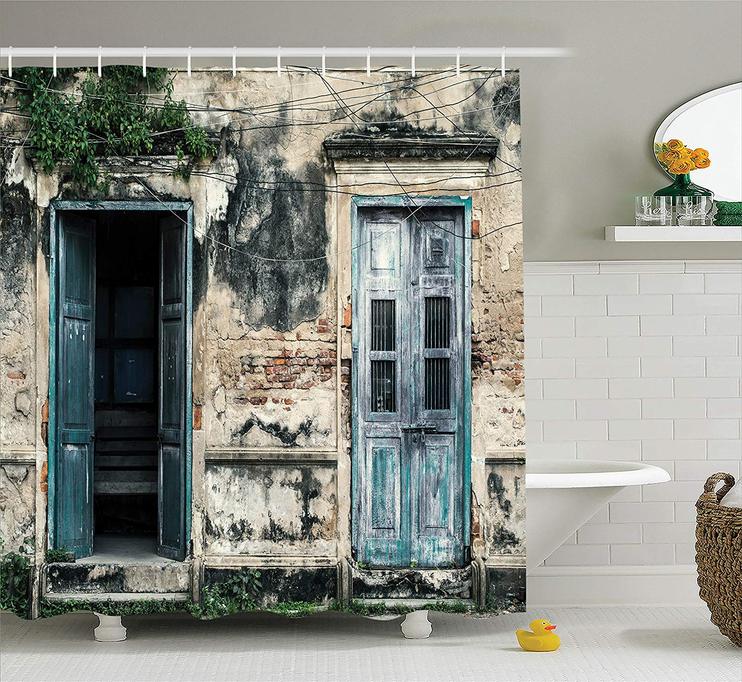 Cheap Rustic Shower Curtains Us 16 97 45 Off Aliexpress Buy Rustic Shower Curtain Doors Of An Old Rock House With French Frame Details In Countryside European Past Fabric