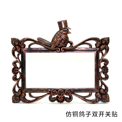 Roogo artificial Copper imitation animal head double Switch Panel Stickers handmade home decor warm art gifts idea
