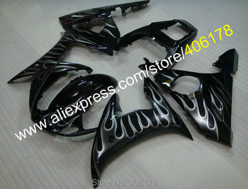 For 2003 2004 YZF-R6 YZFR6 03 04 YZF R6 YZF600 Flame in Black bodywork fairings (Injection molding)