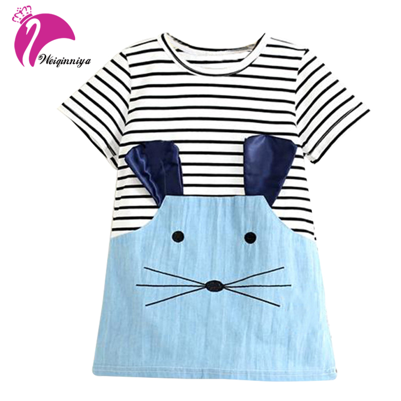 New 2017 Striped Patchwork Character Girl Dresses Sleeve Cute Mouse Children Clothing Kids Girls Dress Denim Kids Clothes 2pcs children outfit clothes kids baby girl off shoulder cotton ruffled sleeve tops striped t shirt blue denim jeans sunsuit set