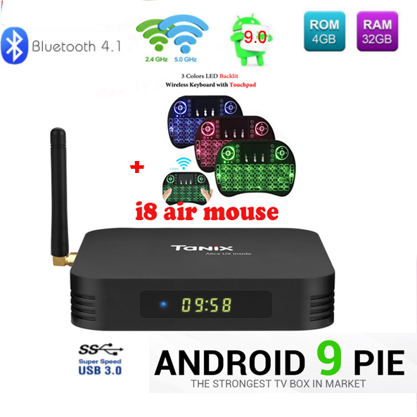 Tanix TX6 caja de TV android 9 Allwinner H6 4 GB DDR3 32 GB EMMC 2,4 GHz 5 GHz WiFi BT4.1 soporte 4 K H.265 Bluetooth 4,0 WIFI