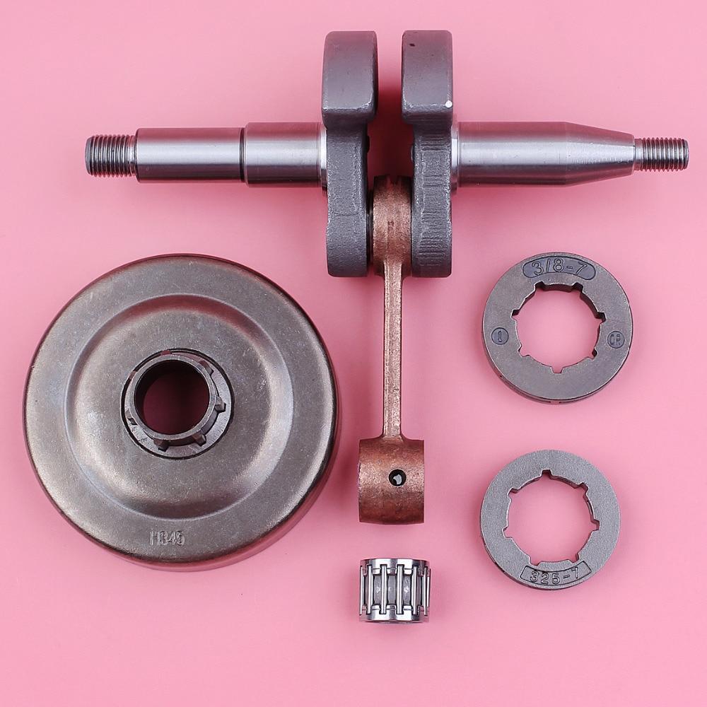 Crankshaft Crank Shaft For Husqvarna 340 345 350 Clutch Drum 3/8 .325 7 Teeth Sprocket Rim Chainsaw Spare Tool Parts цена