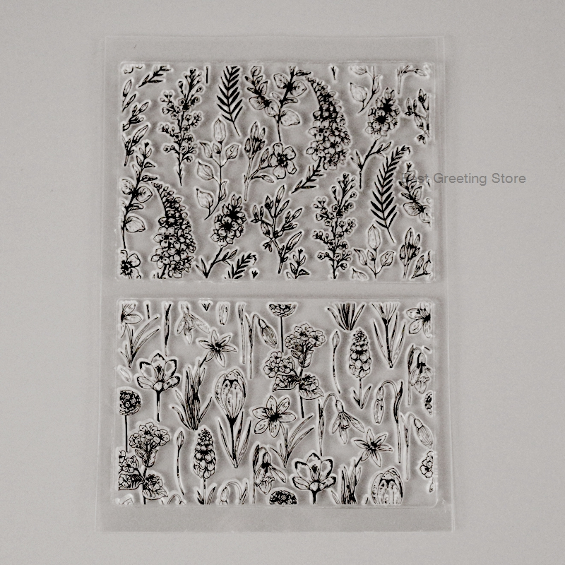 Eno Greeting Clear Stamps Flower Background Stamps For Card Making Decoration Seamless Transparent Tamps