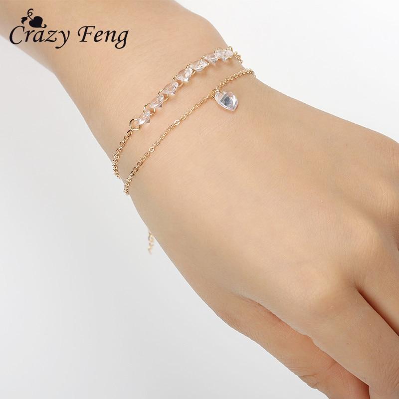 Charms Crystal Heart Pendant Bracelet For Women Bohemian Bracelet Lover Bangles Party Fashion Female Bracelet Jewelry Gift
