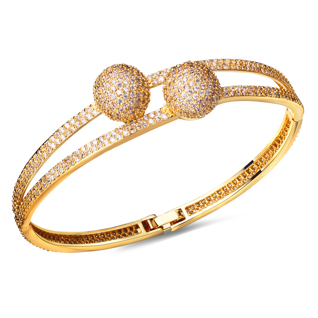 Round bangle women Bracelet gold plated w/ White cz stone luxury Bangle New design fashion Jewelry Free shipment