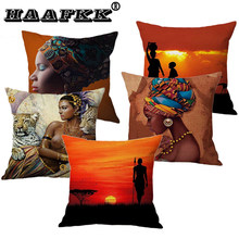 Africa Life Scene Cushion Cover Beautiful Animal Giraffe African Woman in Art Pillowcase Sofa polyester Throw Pillow Case(China)