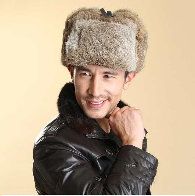 6d644981a1a placeholder natural black real rabbit fur hat men winter fur cap genuine women s  Bomber Hats Russia style