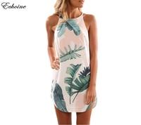 Echoin 2018 New Green Leaf Print Sleeveless Women Mini Dresses Tropical Summer Beach Dress Casual Tank