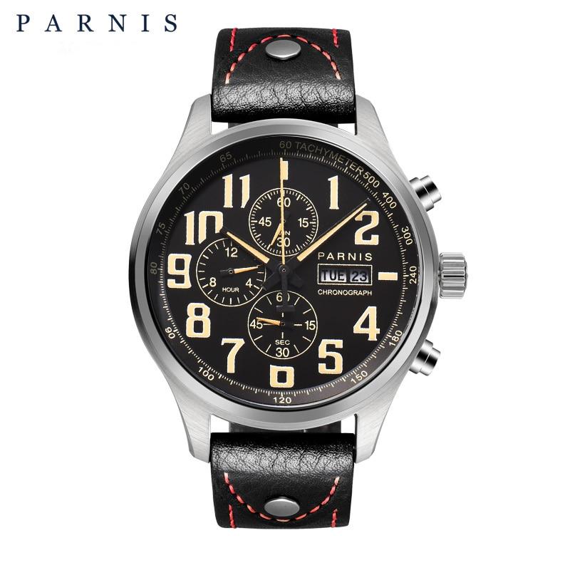 43 millimetri Parnis Orologio Analogico Al Quarzo Cronografo Datejust Pilota Militare Vigilanza di Immersione Subacquea 100 m impermeabile PA6052