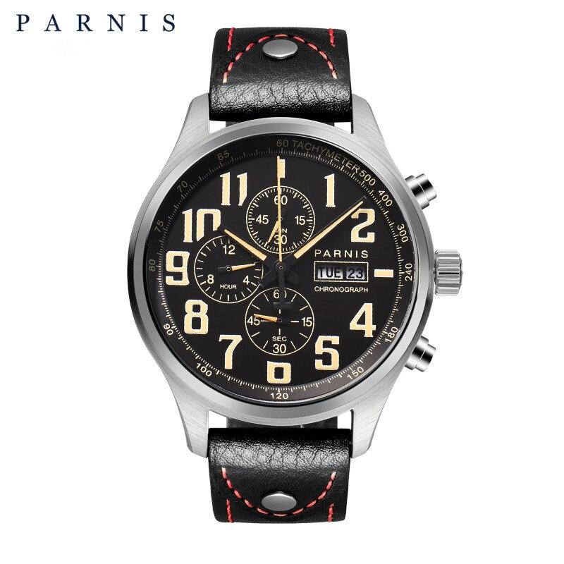 43mm Parnis Quartz Montre Analogique Chronographe Datejust Pilote Militaire Montre montre de Plongée 100 m étanche PA6052
