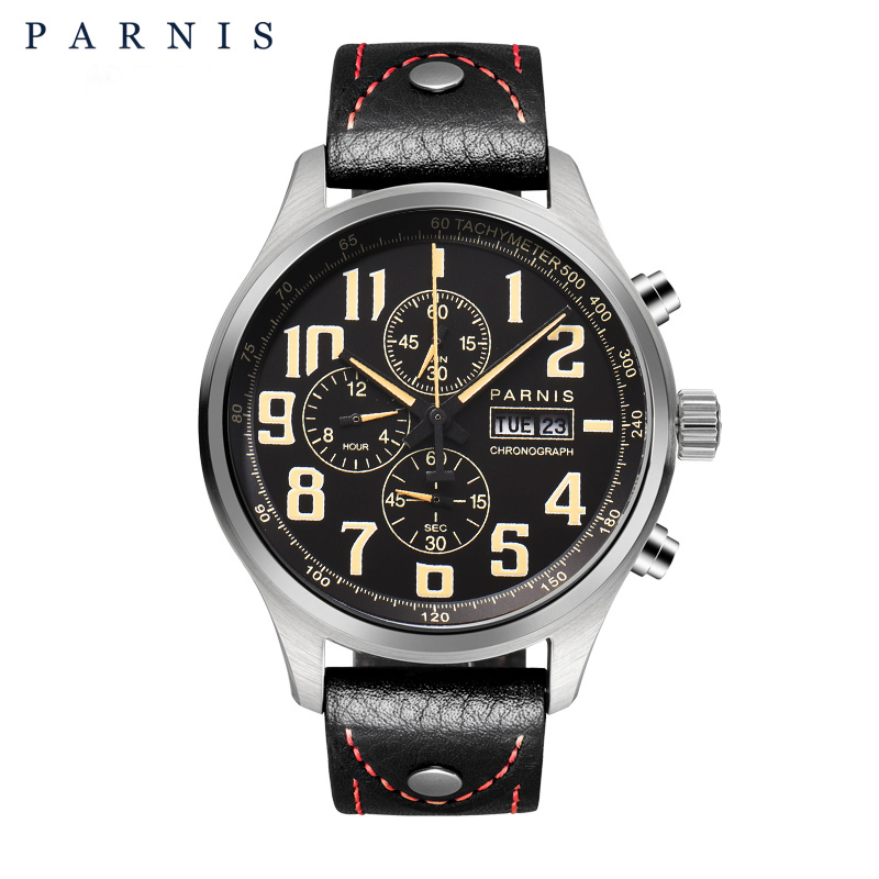 43mm Parnis Quartz Watch Analogue Chronograph Datejust Military Pilot Watch Diving watch 100m waterproof PA6052 clearaudio professional analogue toolkit