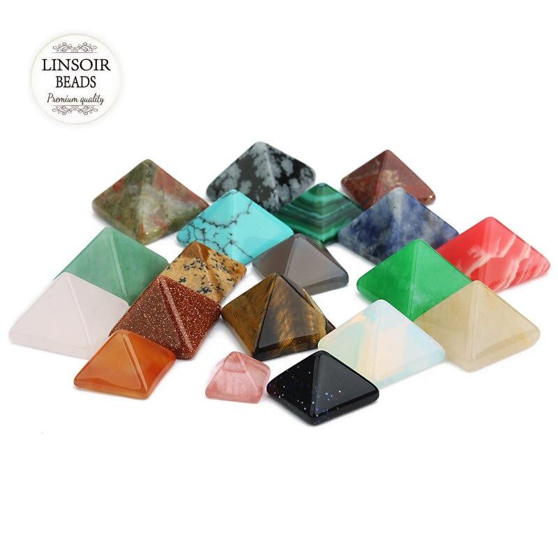 LINSOIR 10PCS Fashion Pyramid Natural Stone Flat Geometric CAB Cabochons Tiger Eye Beads For Jewelry Making 8mm 12mm 14mm F7231