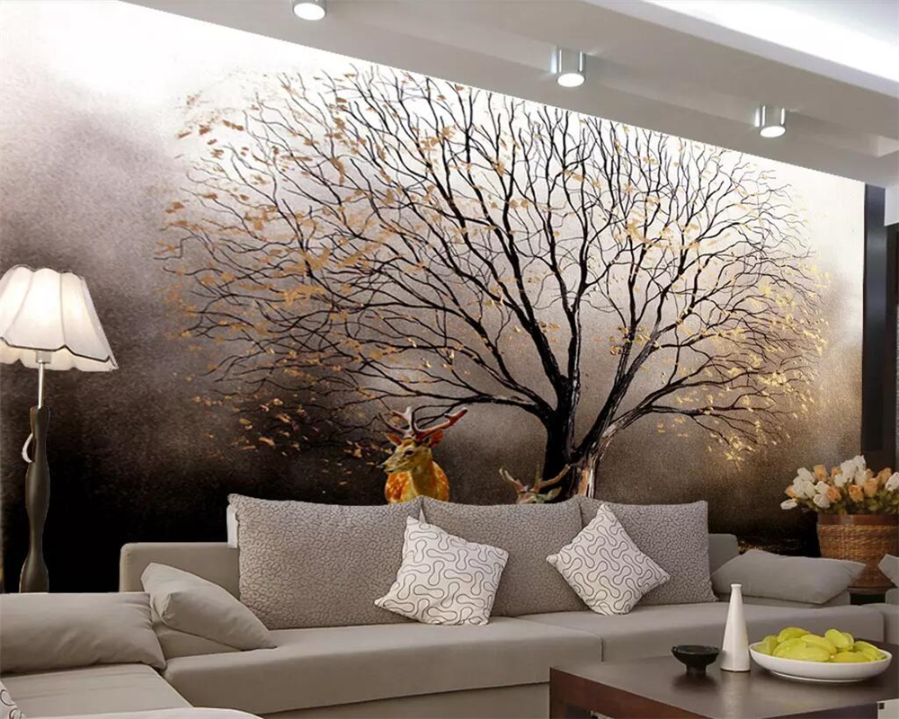Beibehang Custom Wallpaper 3d Mural European Golden Tree Sika Deer Oil Painting Background Wall Papers Home Decor 3d Wallpaper