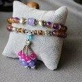 Trendy 8mm Color Grape Jade Bracelet Lucky Tassels Pendant Female Bracelet Multilayer Chain Natural Stone Jewelry Making