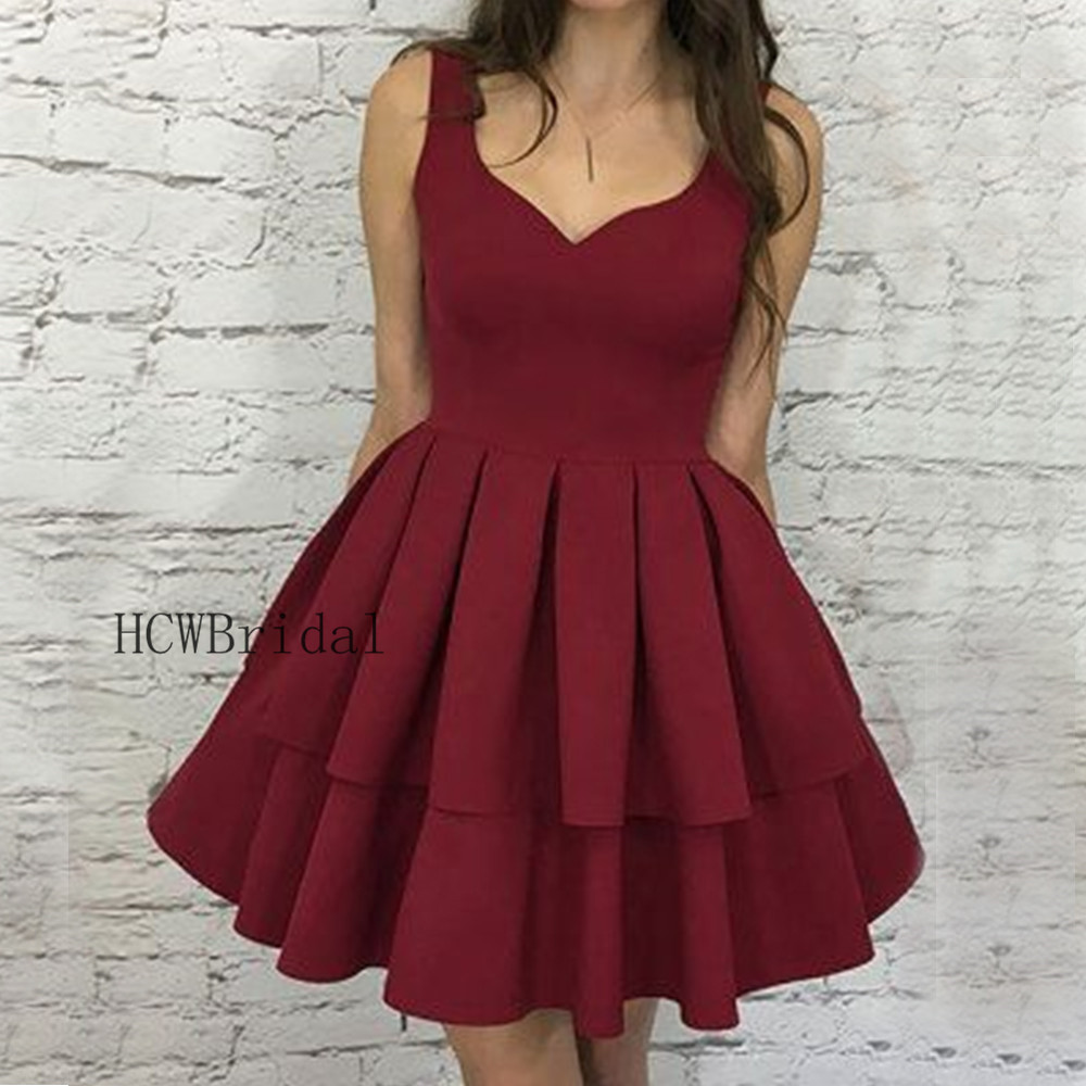 Burgundy Short   Prom     Dresses   2019 High Quality Elastic Satin Tiered A Line Knee Length Cheap Evening Gown Roeb De Soiree