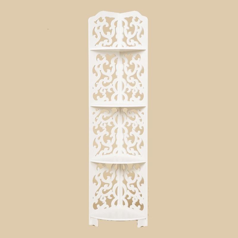 White 4 Layers Kitchen Bathroom Shelf Multi-layer Storage Rack Hollow Carved Wooden Corner Stand Shelf  European Style Rack