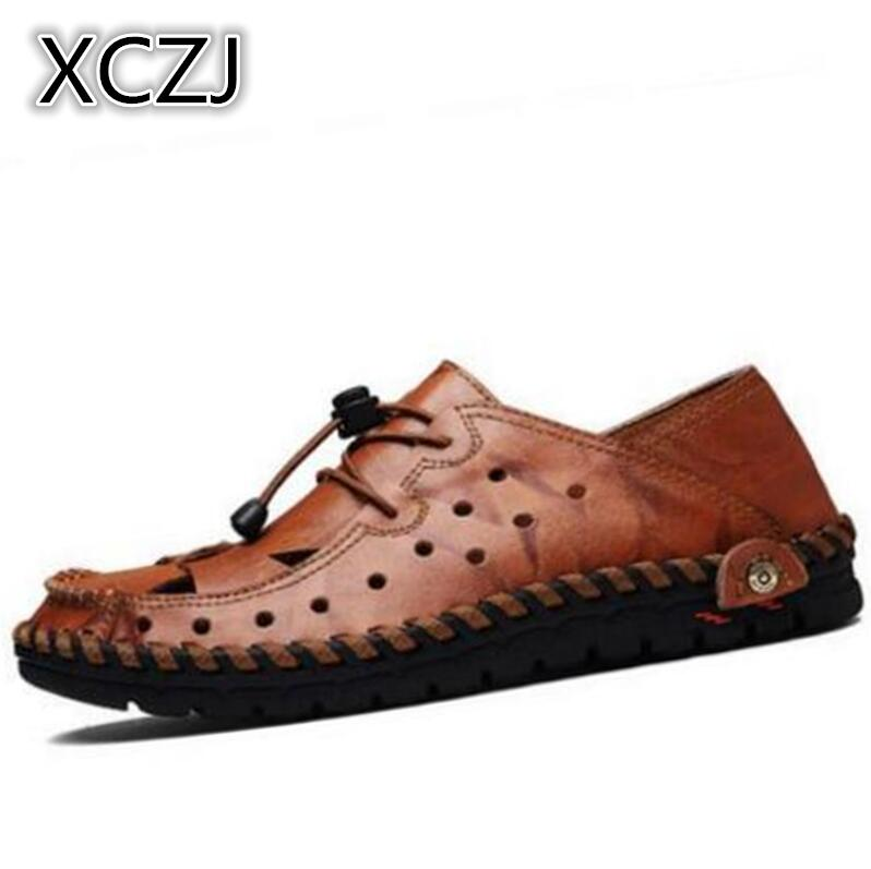 XCZJ 2018 summer sandals men Baotou slippers summer holes men shoes lazy leather shoes beach breathable sandals