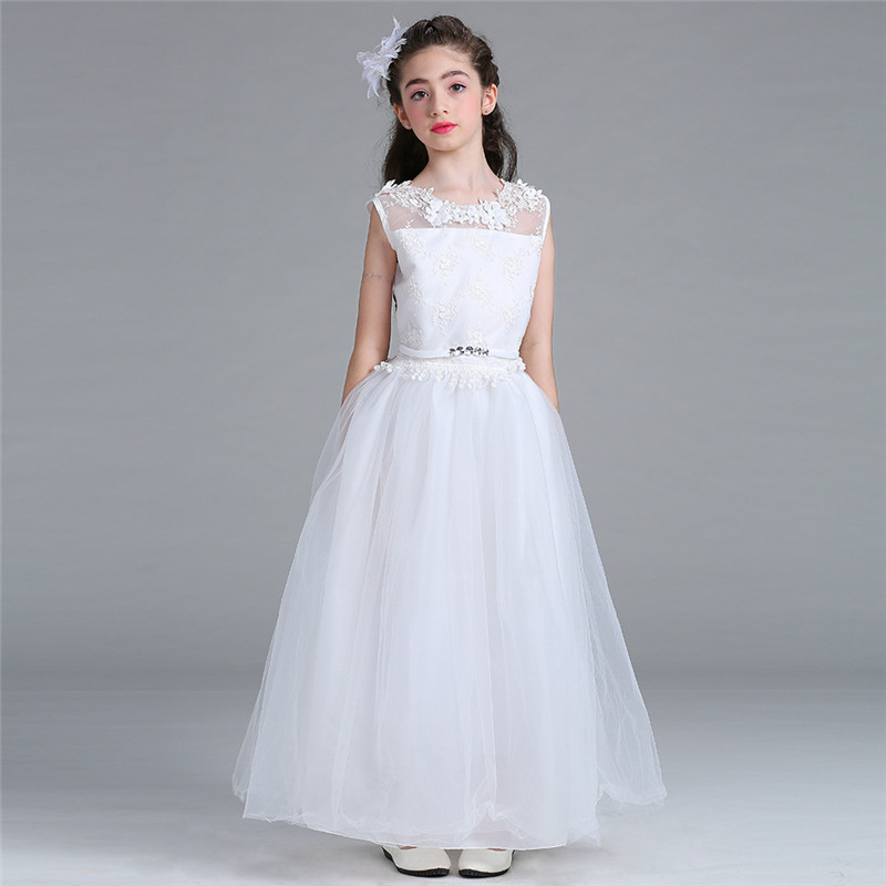 2017 New Flower Girls Dress White Wedding Pageant Bridesmaid Gown Summer Princess Party Hollow Mesh Dresses Girl Clothes 12 Year 4 15y little big girls clothes rustic flower girl wedding occasion junior bridesmaid kids cocktail dresses for 14 year girls