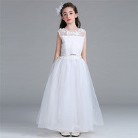2017 New Flower Girls Dress White Wedding Pageant Bridesmaid Gown Summer Princess Party Hollow Mesh Dresses Girl Clothes 12 Year