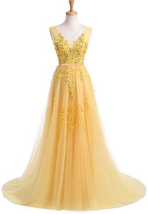 Robe De Soiree SSYFashion, кружевное, с бисером, сексуальное, с открытой спиной, длинное вечернее платье, для невесты, банкета, элегантное, длина до пола, для вечеринки, выпускного вечера - Цвет: Yellow
