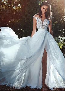 Image 2 - Graceful Chiffon Jewel Neckline A line Wedding Dress With Lace Appliques See Through Bodice Front Slit Bridal Dress Simple