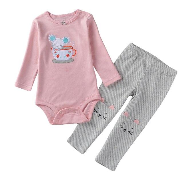 Originele Babykleding.Merk Originele Babykleding Cartoon Roze Kat Katoen Bodysuits