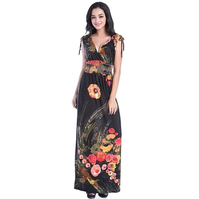 fd226b41f35 Robe longue femme ete Women Summer Long Maxi Dress Sexy Open Back V Neck  Sleeveless Floral Beach Dress Vestidos verano