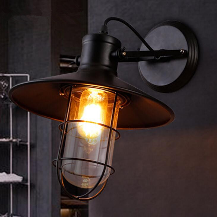 Loft Industrial Retro Restaurant Bar Bedroom Bedside Iron Lamp American Creative Aisle Balcony Glass Wall Light Free Shipping free shipping american retro nostalgia aisle wall bar lamp loft single head lamp of creative industry