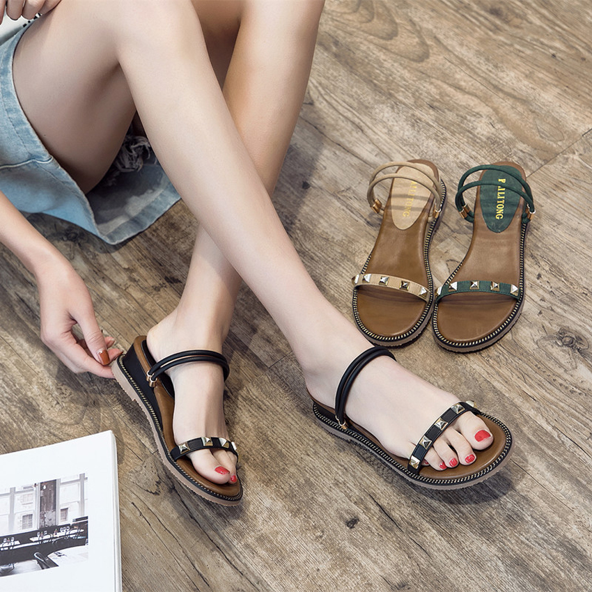 Classic Women Sandals Med Heels Wedges Black/Apricot/Green Spring/Summer Female Shoes Casual Lady Woman Footwear