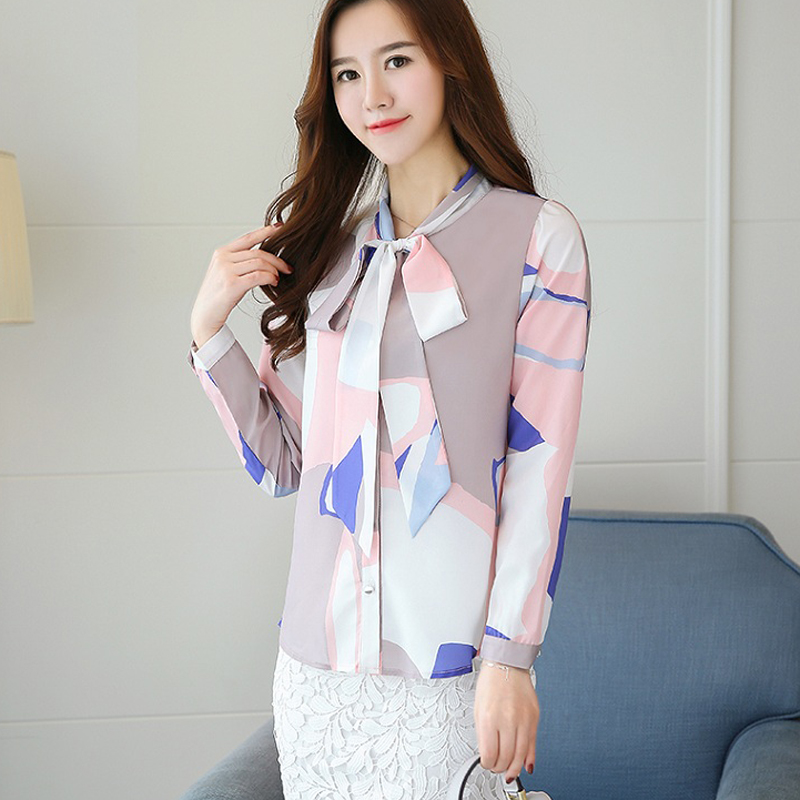 050ce0b217f  BEST OFFER  Womens Long Sleeve Tops and Blouses Spring Female Print Shirts  Ladies Fashion Autumn Chiffon Blouse White Office Shirt For Women