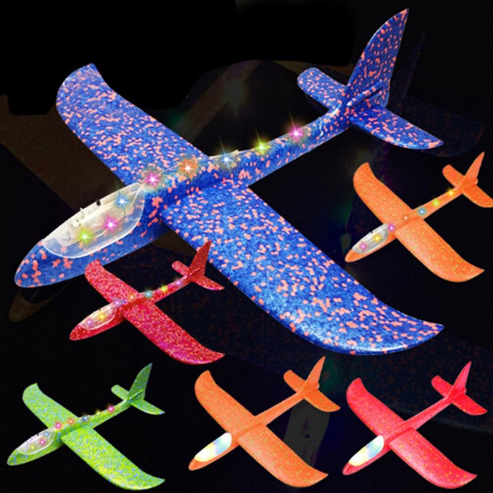 48cm grande bonne qualité LED lancement à la main lancer avion planeur avion inertiel mousse EPP jouet enfants avion modèle en plein air amusant