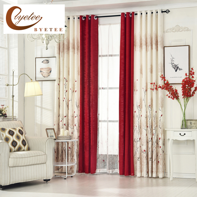 [byetee] Pastoral Linen Curtains For Living Room Bedroom Curtains Drapes Custom Red Semi Light Window Curtains Fabrics Cortinas