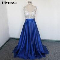 Royal Blue V Neck Beads Bodice Open Back A Line Long Evening Dress Party Vestido De