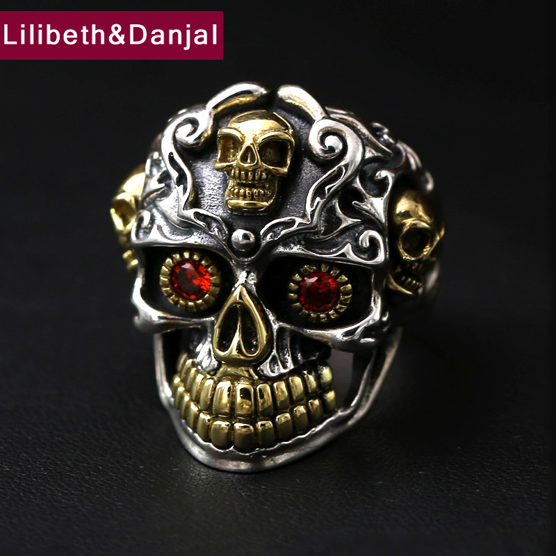 Men Ring 925 Sterling Silver Jewelry Vintage Punk Inlaid Ruby Skull Adjustable Finger Ring Christmas Gift Fine jewelry FR58Men Ring 925 Sterling Silver Jewelry Vintage Punk Inlaid Ruby Skull Adjustable Finger Ring Christmas Gift Fine jewelry FR58
