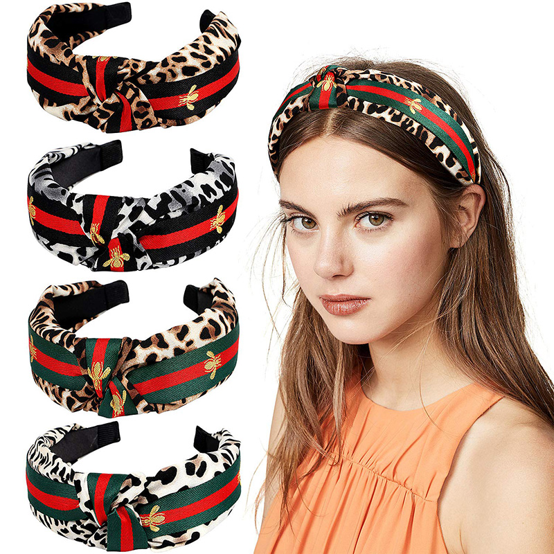 Leopard Print Bee Headband Knot Tie Hairbands Women Turban Korean Wide Tiara Trendy   Headwear   Hair Accesories
