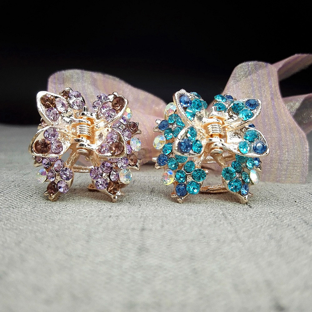 1piece Rhinestone Hair Clip Hairpins assorted butterfly Crystal Crab Hair Claws For Women Girl Hair Accessories random color W1  haimeikang large size plastic hairpins candy color hair clip shiny crab hair claws for women girl hair clips hair accessories