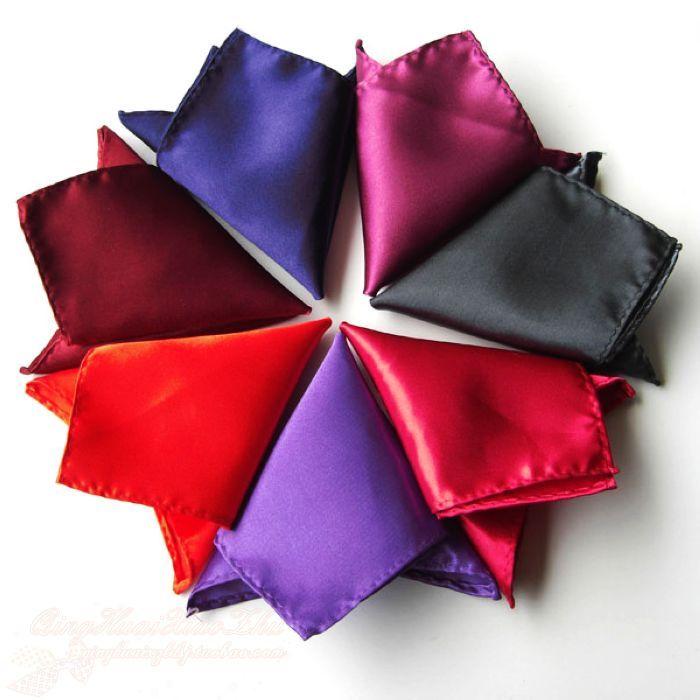 500pcs 36colors Fashion New Mens Folding Pocket Square  Hanky Plain Handkerchiefs Solid Color Suit Custom Size Drop Shipping
