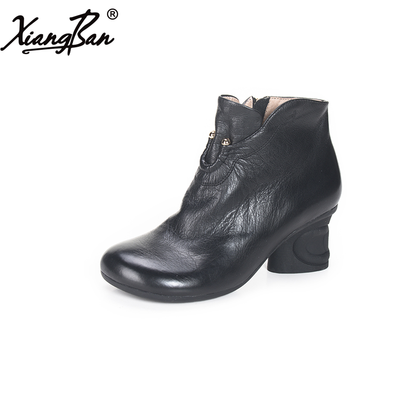 Xiangban retro women ankle boots thick heel ladies shoes round head women leather boots 2018 spring autumn black women ankle boots handmade vintage medium heel round head shoes elegant boots xiangban