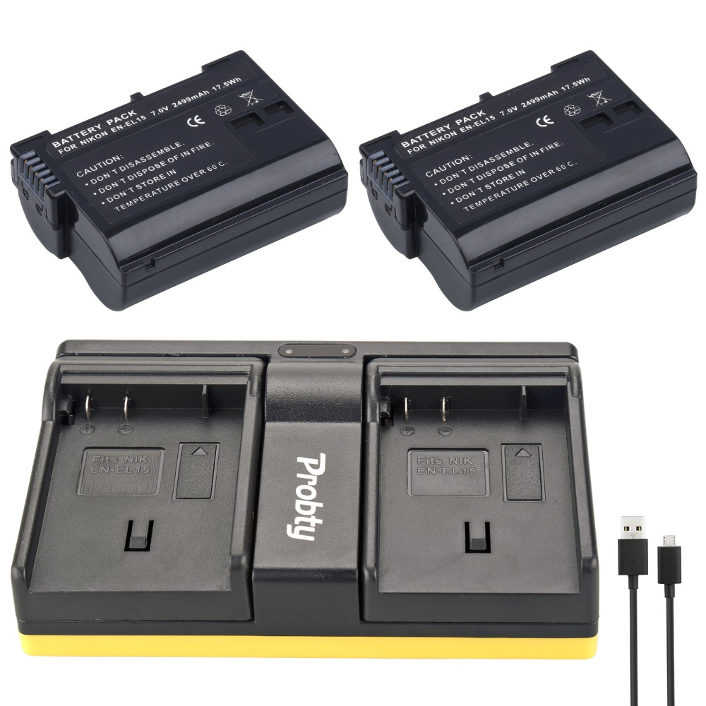 Probty 2PCS EN-EL15 EN EL15 Camera Battery + USB Dual Charger For Nikon D600 D600E D800 D800E D7000 V1 MH-25 MB-D11 MB-D12