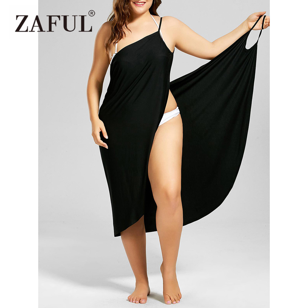 ZAFUL Plus Size Beach Cover Up Wrap Dress Bikini Swimsuit